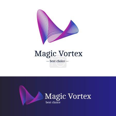 Illustration pour Logo vortex vectoriel dégradé moderne. Logotype vague abstraite bleu et violet - image libre de droit