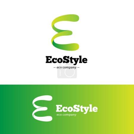 Vector green gradient E letter logo. Ecology logotype.
