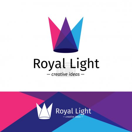 Vector minimalistic three color light rays logotype. Minimalistic crown logo.