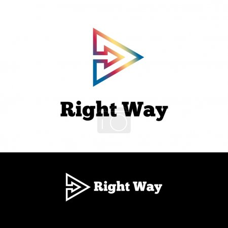 Vector outline arrow in triangle negative space logotype