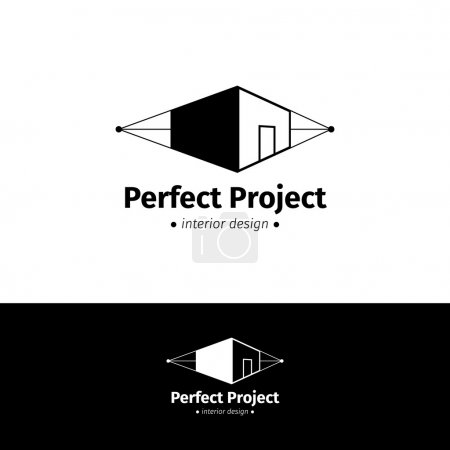 Vector minimalistic house design logo. Black and white interior logotype
