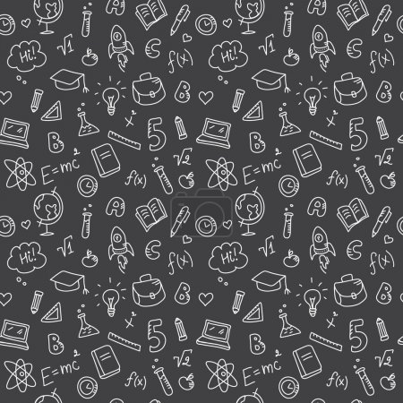 Vector hand drawn study accessories seamless pattern. Cute back to school black and white background