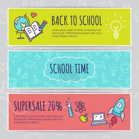 Illustration for Vector education design concept with hand drawn elements. Cute back to school sale colorful banners - Royalty Free Image
