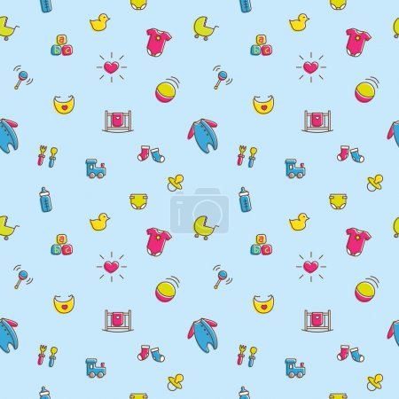 Vector colorful baby and pregnancy seamless pattern in cartoon style. Newborn boy theme bright background