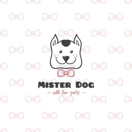 Illustration for Vector funny cartoon style pet shop logo. Hand drawn doodle dog head logotype - Royalty Free Image