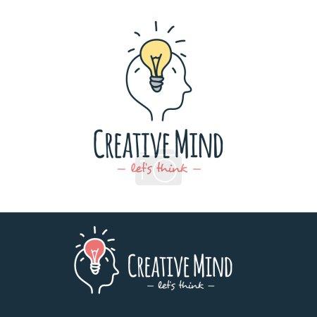 Vector cartoon style brain training logo. Hand drawn doodle logotype.
