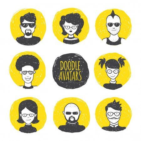 Illustration for Vector funny user avatars in trendy hand drawn doodle style. Eight human faces on yellow hand drawn circles - Royalty Free Image