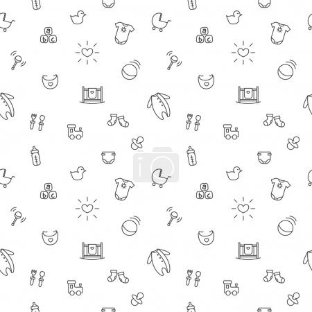 Illustration for Vector funny baby and pregnancy seamless pattern. Newborn black and white background - Royalty Free Image