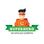 Vector flat super hero logotype Cartoon style mascot logo