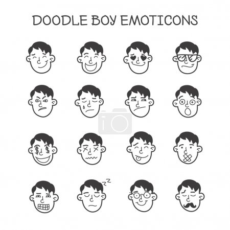 Illustration for Vector cute doodle boy heads set. Boy emoticons collection - Royalty Free Image