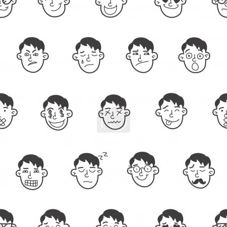Illustration for Vector cute doodle boy heads seamless pattern. Boy emoticons seamless pattern - Royalty Free Image