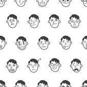Vector cute doodle boy heads seamless pattern Boy emoticons seamless pattern