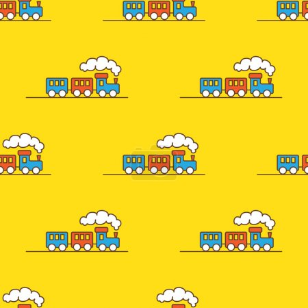 Vector cartoon toy seamless pattern. Little steam train background.