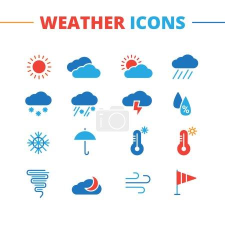Illustration pour Icônes météo vectorielles à la mode. Collection minimaliste de symboles de style plat - image libre de droit
