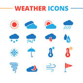 Vector weather icons set Minimalistic flat style symbols collection