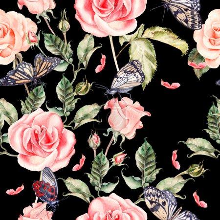 Photo pour Motif avec aquarelle rose réaliste, pivoine et papillons. Illustration . - image libre de droit