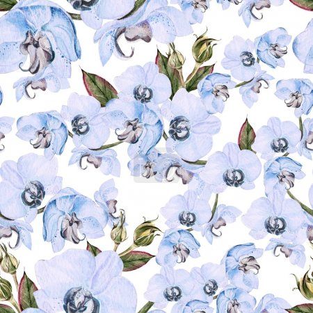 Photo for Seamless pattern with orchid flower and leaves. Illustration. - Royalty Free Image