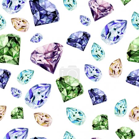 Watercolor pattern with realistic diamond.