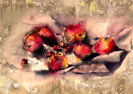 Watercolor illustrations apples and cherries on the drapery
