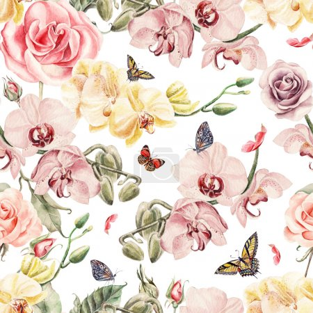 Seamless pattern with orchid flowers, roses and leaves.