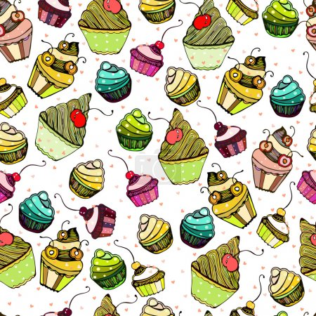 Vector seamless texture with cute Cake