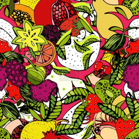 Bright, colorful pattern with fresh fruit