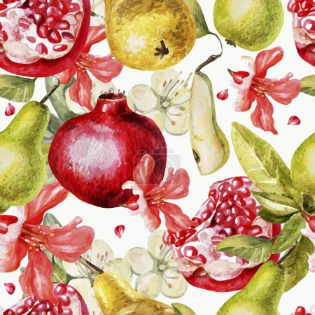 Beautiful watercolor pattern with fruits and flowers of pomegranate and pear