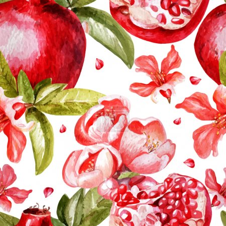 Beautiful watercolor pattern with fruits and flowers of pomegranate
