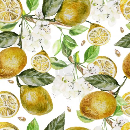 Illustration for Beautiful watercolor pattern with flowers and citrus on a white background. Vector illustration - Royalty Free Image
