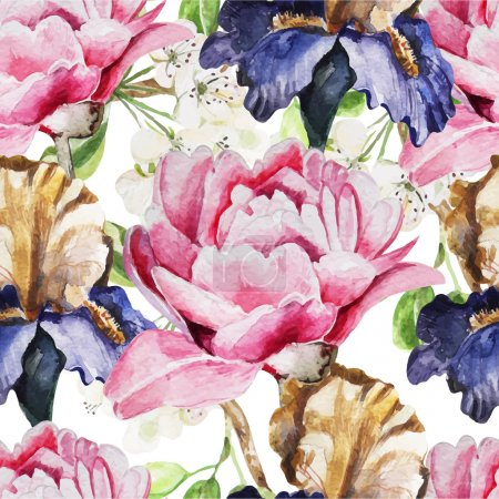Illustration for Seamless pattern with watercolor flowers. Iris. Peonies. Vector illustration - Royalty Free Image