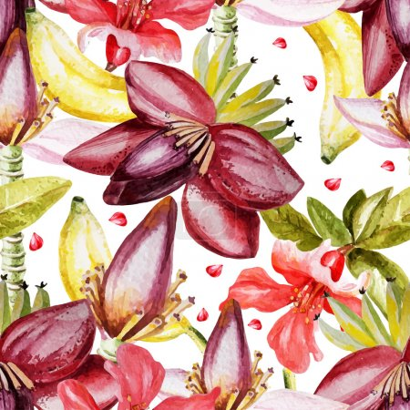 Illustration pour Motif aquarelle avec des fleurs banane, grenade. Illustration vectorielle - image libre de droit