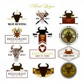 Meat logos badges labels and design elements Vector