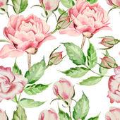 """Постер, картина, фотообои """"Seamless pattern with watercolor flowers. Rose and peony. """""""
