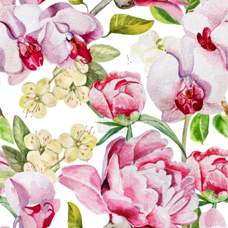 Pattern with delicate peony flowers and orchids on a white background.