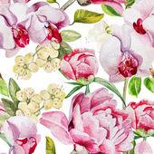 Vzorek s delikátní Pivoňka květy a orchideje na bílém pozadí