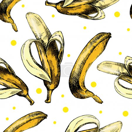 Illustration for Hand drawing pattern with bananas on a white background.  Vector illustration - Royalty Free Image