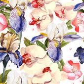 Vzorek s květy orchidejí a kosatce