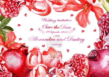 Watercolor wedding card with pomegranates and flowers, invitation.