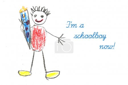 starting school with child's drawing and text I'm a schoolboy no