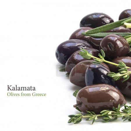 Kalamata,  aromatic black olives from Greece as border backgroun