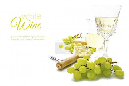 White wine, green grapes and cheese isolated on a white backgrou