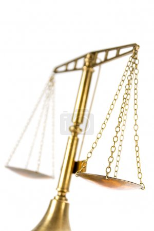 scales of justice isolated on a white , view from below