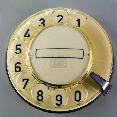 rotary dial  on a vintage telephone
