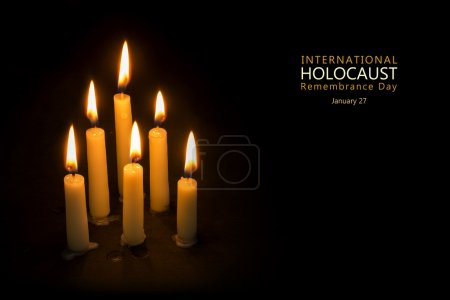Holocaust Remembrance Day, January 27, candles against black