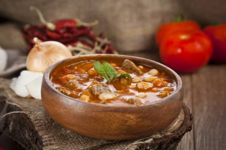Photo for Hot turkish bean stew with a tasty tomato sauce. - Royalty Free Image