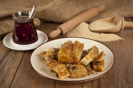 Turkish style meat stuffed filo dough borek served kol boregi