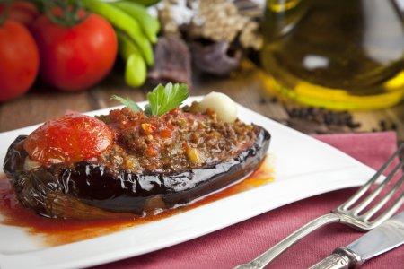 Turkish Traditional Aubergine Eggplant Meal - Karniyarik (Riven Belly)
