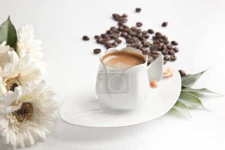 Photo for Traditional Turkish Coffee cup and beans concept tulip cup - Royalty Free Image