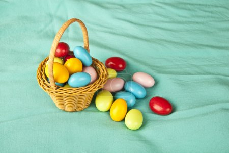 Easter eggs chocolate and basket