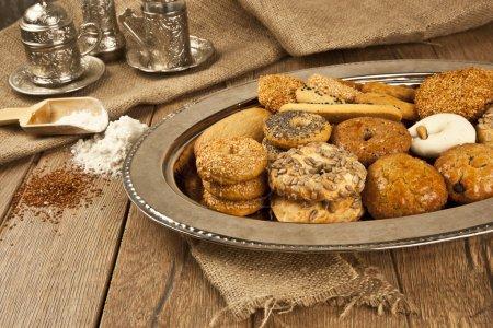 Photo for Turkish homemade sweet and savory cookies - tatli tuzlu kurabiye - Royalty Free Image